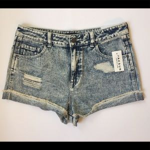 Distressed Jean High-waisted Shorts